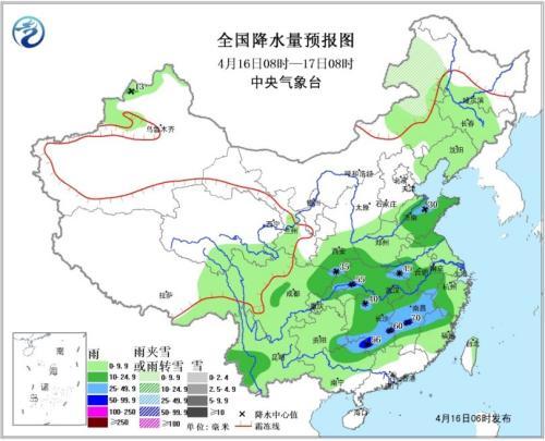 图1 全国降水量预报图(16日08时-17日08时)